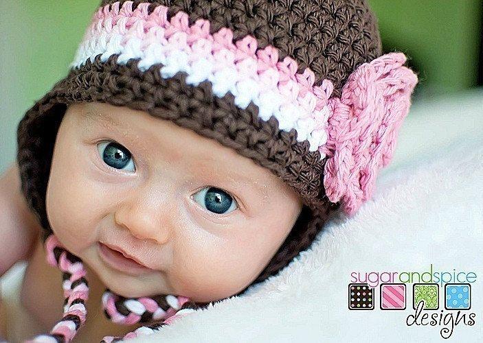 Crochet Hat Pattern Photo Prop Baby Girl Flower Earflap ...