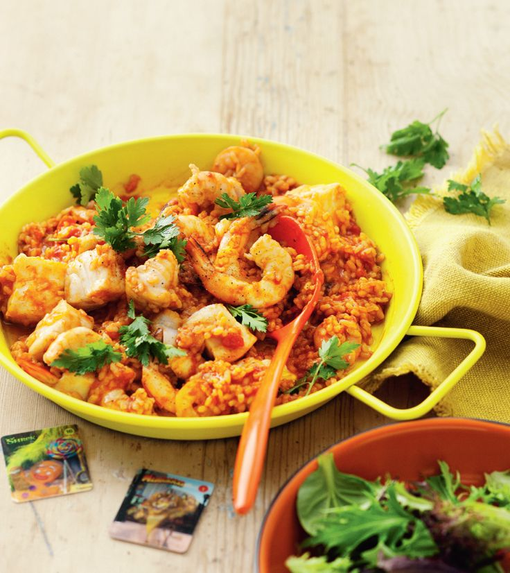 Puss in Boots Seafood Paella.  http://www2.woolworthsonline.com.au/Shop/Recipe/2444  #Woolworths #recipe #DreamWorksHeroes