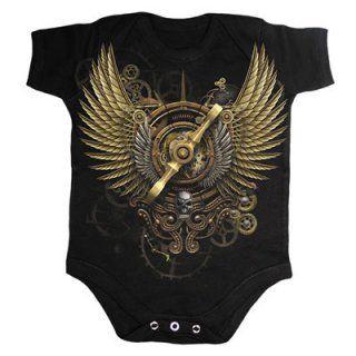 Body bébé gothique noir avec illustration Steam Punk