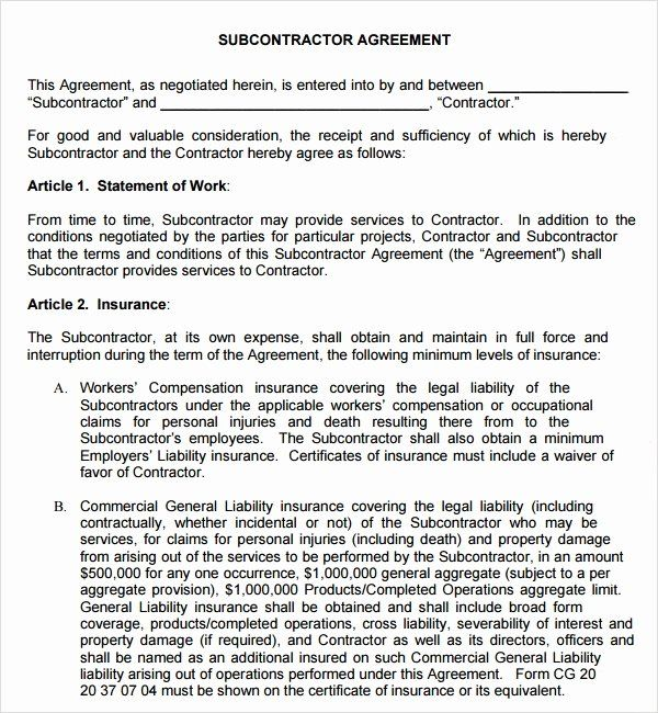 Free Subcontractor Agreement Template Word Inspirational Sample Subcontractor Agreement 17 Free Documents Contract Template Subcontractors Good Essay