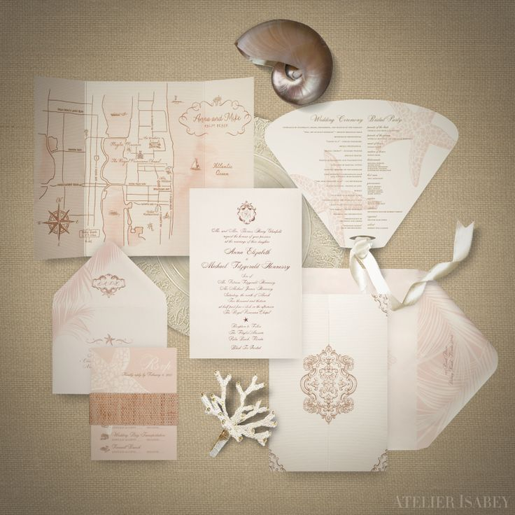 wedding invitations map%0A Palm Beach Destination Luxury Wedding Invitation by Atelier Isabey