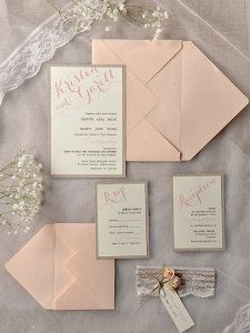 rustic peach wedding invitation kits