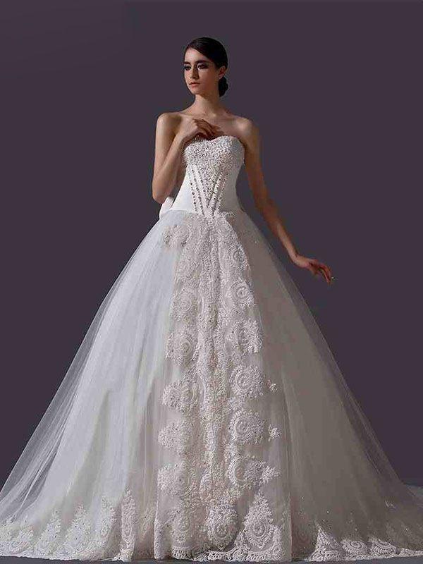 ランディブライダル ウェディングドレス プリンセス ハートネック チャペルトレーン 豪華なロングトレーン リボン 挙式 ブライダル 結婚式 B14TB0022