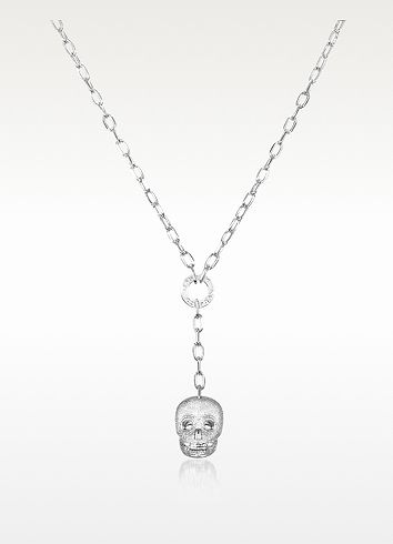 Rebecca Manhattan - Silver-Plated Skull Pendant with Chain