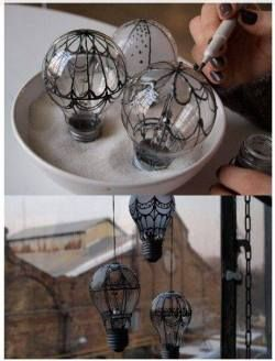weird Awesome crafts DIY dark fantasy steampunk gothic victorian light bulbs hot air balloon steam punk