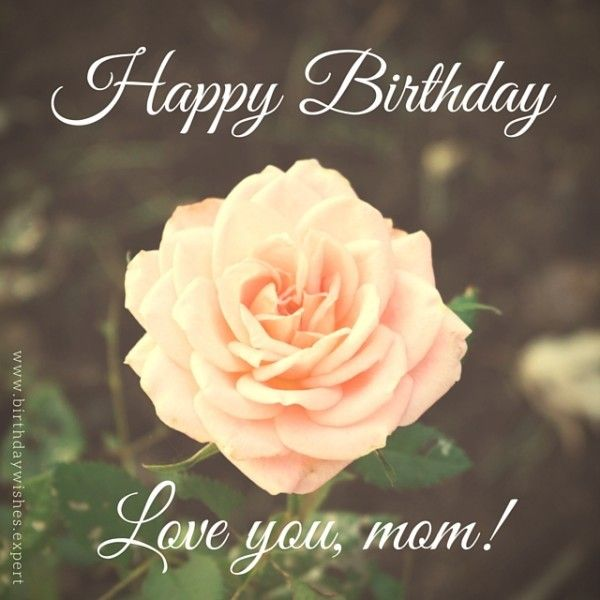 Happy Birthday. Love you mom. on image of a rose.