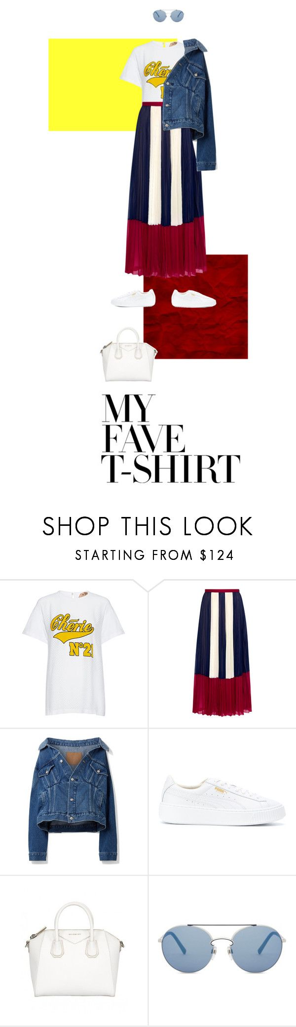 """""""My T-shirt"""" by haineni ❤ liked on Polyvore featuring N°21, RED Valentino, Balenciaga, Puma, Valentino and MyFaveTshirt"""