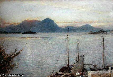 Lever de Baveno, Lac Majeur de Albert Goodwin (1845-1932, United Kingdom)