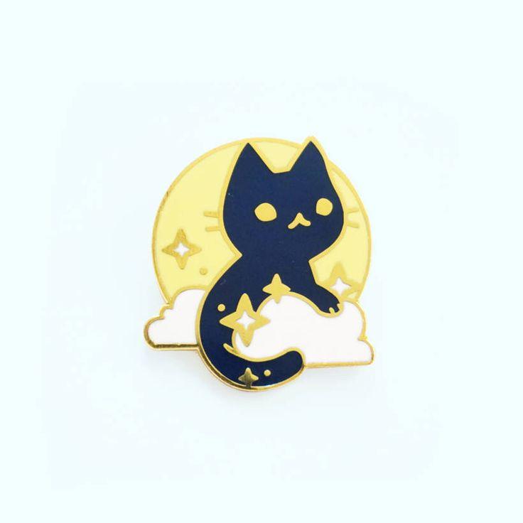 Moon Cat Enamel Pin by JustDuet on Etsy