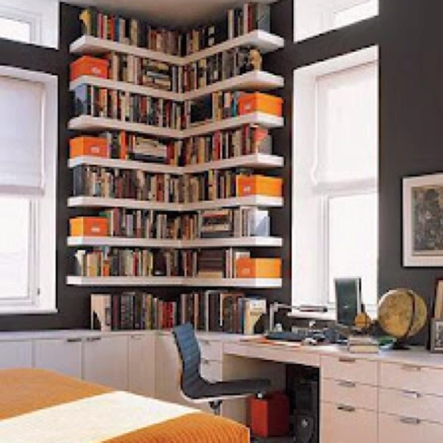 neoteric design floating book shelves. 30 Corner Office Designs and Space Saving Furniture Placement Ideas  spaces Scores Spaces