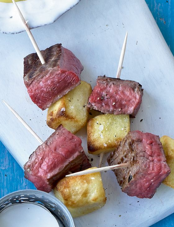 Steak and frites skewers - serious canapés! from Sainsbury's magazine