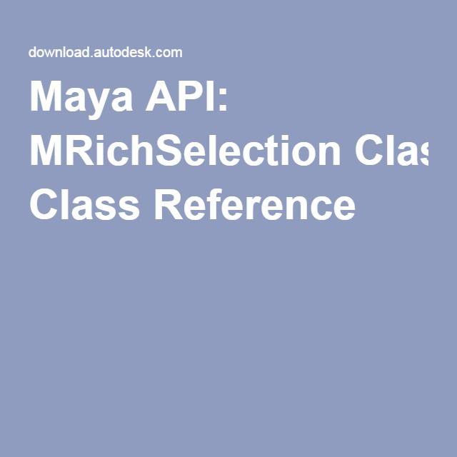 Maya API: MRichSelection Class Reference