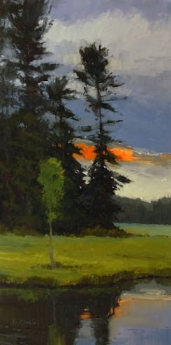 Evening Pause and snapshots from the island, painting by artist Laurel Daniel