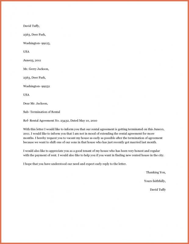 Apartment Lease Termination Letter Rental Agreement Templates Lettering Termination Of Tenancy