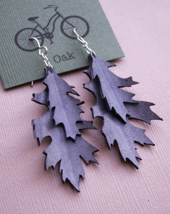 Upcycled Oak Leaf Earrings- made from bike inner tubes $20 @etsy