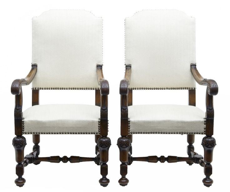 PAIR OF 19TH CENTURY FRENCH CARVED WALNUT BAROQUE ARMCHAIRS