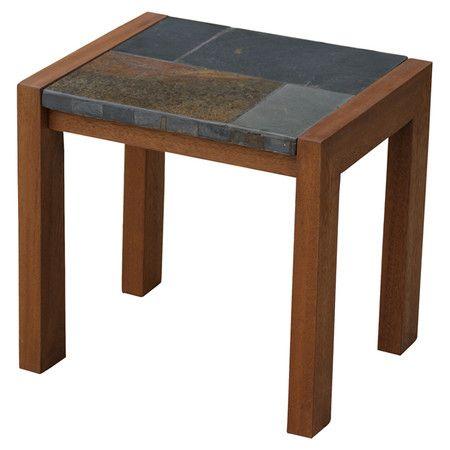 Elijah Indoor/Outdoor Accent Table - Brazilian eucalyptus and showcasing a slate mosaic top,