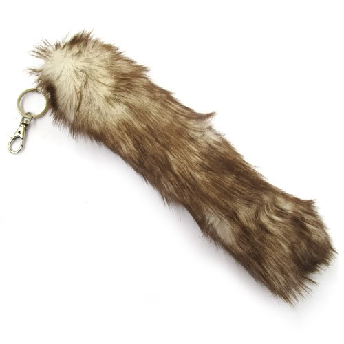 "11"" Faux Fox Tail Keychain Fur Tassel Bag Tag Charm Keyring 6 Colors Black Wine 