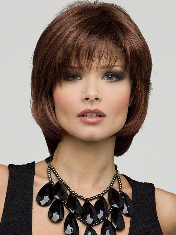 Chin-length Medium Haircut with bangs.  If I get my hair cut shorter, I think I would chose this length & style.  Maybe soon.
