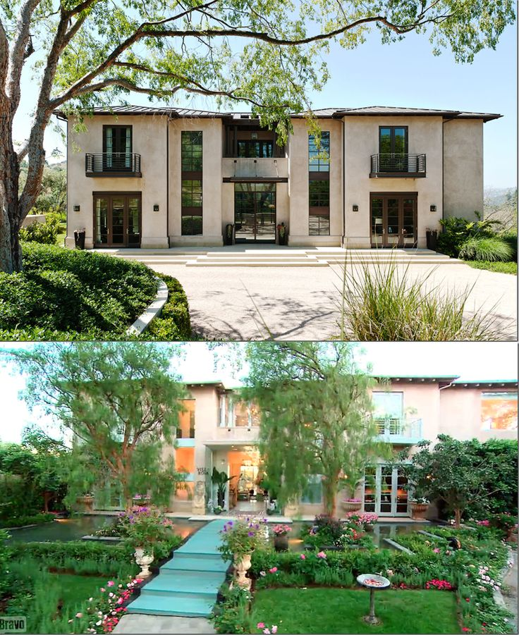 Lisa Vanderpump's Villa Rosa before and after. From cold, ugly, and boring, to lively french chateau. More photos at link