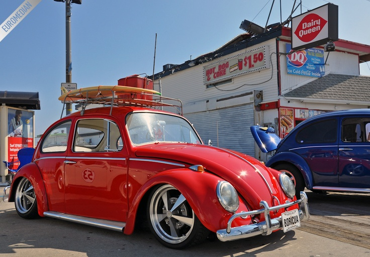 Surfs up!  Red VW Beetle, slammed!