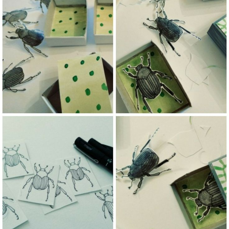 Had a wonderful time creating these little beetle boxes! They were tricky customers though - look at them trying to escape