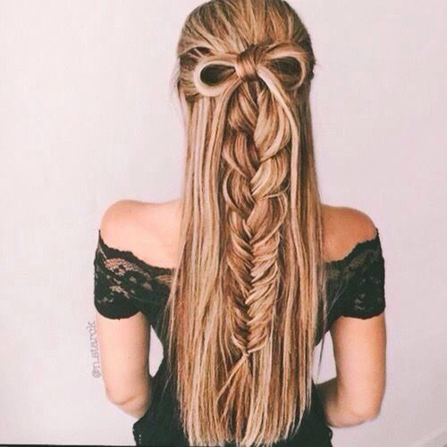 is this even real hair? a bow & a braid half up half down hair style! so glam Pinterest: kelseyxblomquist