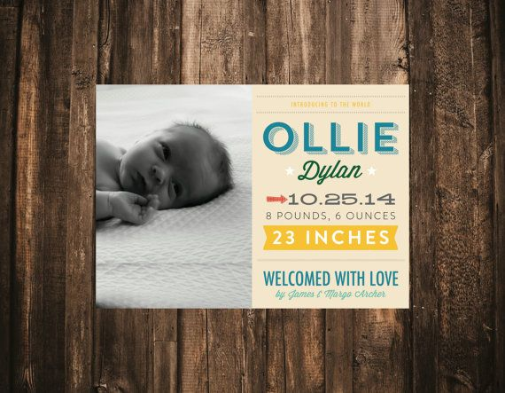 Modern Typography Baby Announcement // 5x7 by blacklabstudio, $40.00