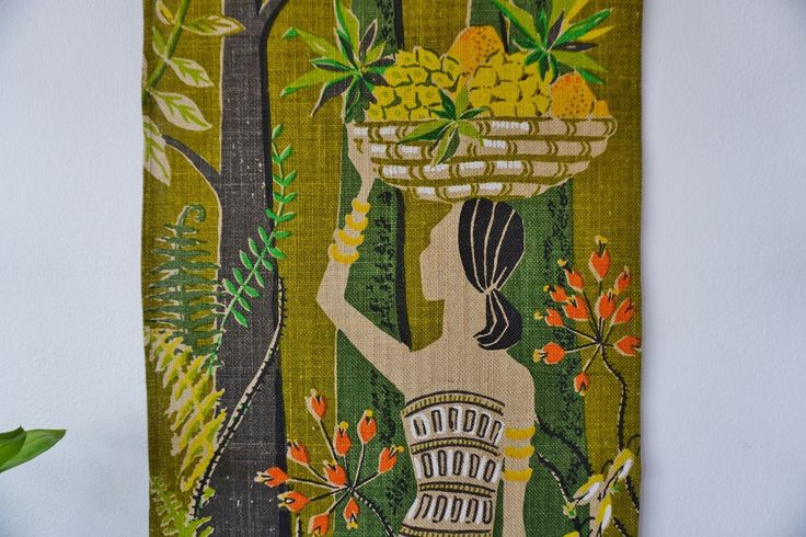 Swedish Tapestry Nordic art/ Swedish vintage linen print wall hanging/ signed with LM by ScandicDiscovery on Etsy