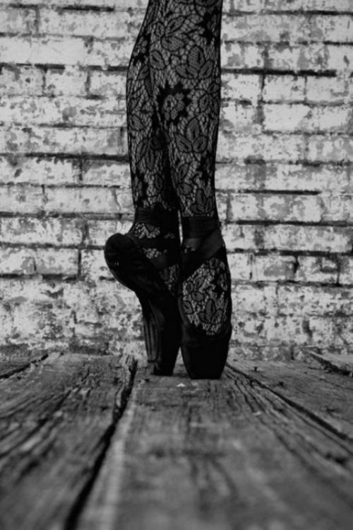 Love the lace tights and black ballet shoes.