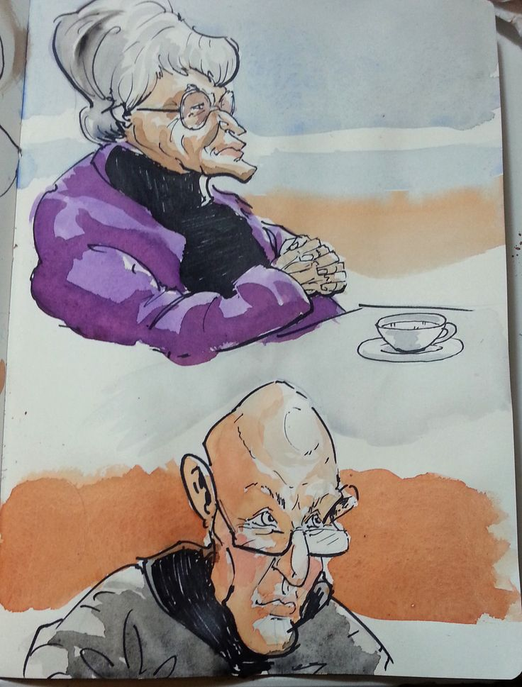 More sketches at Gibraltar. An old lady looking out the airport window and some bald guy looking up from his phone suspiciously. Pen and watercolours. Sketch at the airport, pen on the plane and watercolours just now.