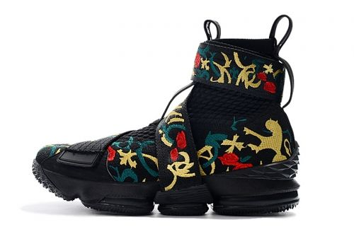 129e2db3b4d670 New Arrival KITH x Nike LeBron 15 Lifestyle Kings Crown Black Gold Floral  Mens Basketball Shoes For Sale - ishoesdesign