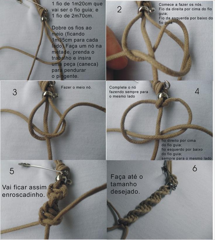 É fácil ser feliz - artesanais: Colar e pulseira em macramê - nó duplo