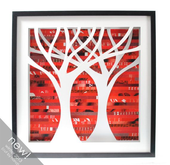 tree shadowbox symmetrical made from recycled magazines by colorstorydesigns, $150.00