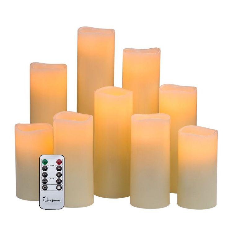 Conjunto de 9 Velas Sin Llama Electricas con Control Remoto Para La Casa  #Unbranded