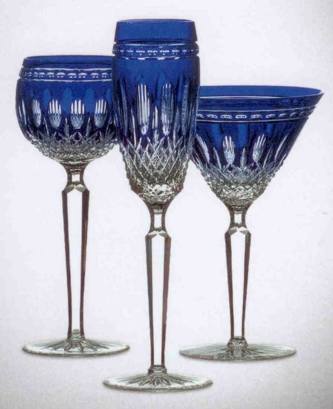 Wedgwood royal doulton waterford blue stemware waterford crystal clarendon cobalt martini - Waterford colored wine glasses ...