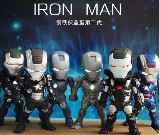 6pcs/set 9cm Egg Attack Iron Man Eye Light Car Decoration Action Figure  #Unbranded