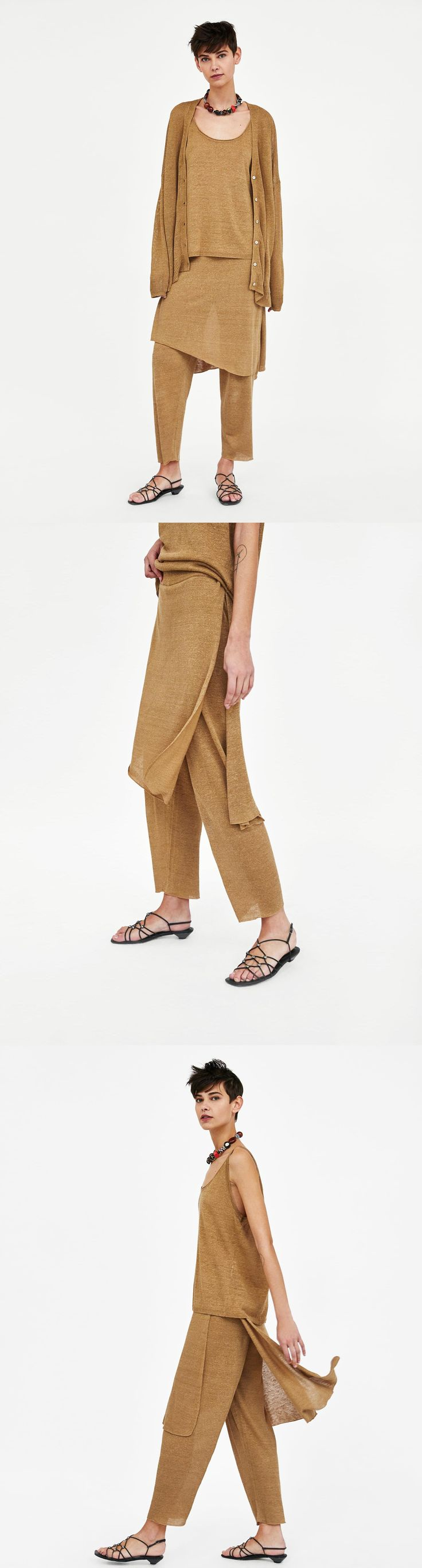 Knit Linen Trousers With Overlapping Skirt // 45.90 USD // Zara // Knit trousers with elastic waistband and overlapping skirt with side vents. HEIGHT OF MODEL: 178 CM / 5′ 10″