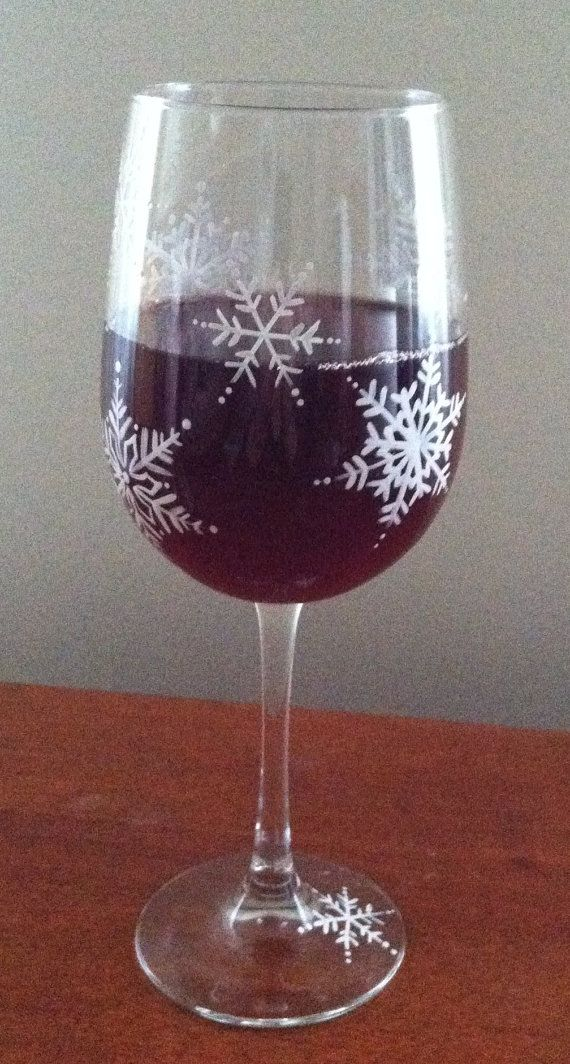 Snowflakes - Hand Painted Wine Glass