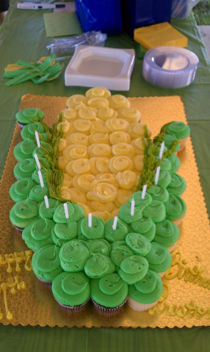 Ear of corn cupcake cake for Preston's 11 bday