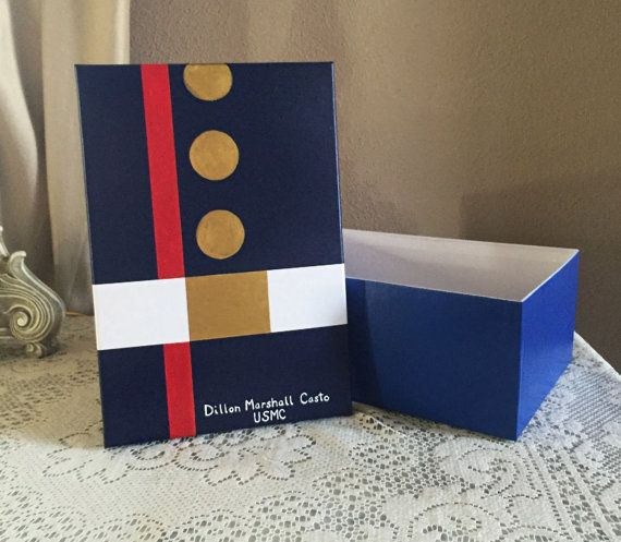 A hand painted keepsake letter box done in resemblance of Marine Corps Dress Blues. It is a special place to keep your letters and other keepsakes, for both a Marine and/or for a significant other or spouse. The box is a standard shoebox size at 7-1/2 x 5-1/8 x 14-3/8. We know how special all your Marine Corps memorabilia is, and we know it is important to keep it safe. In honor of those who serve, I would be happy to customize your letter box. I can add personalized name, rank, and any…