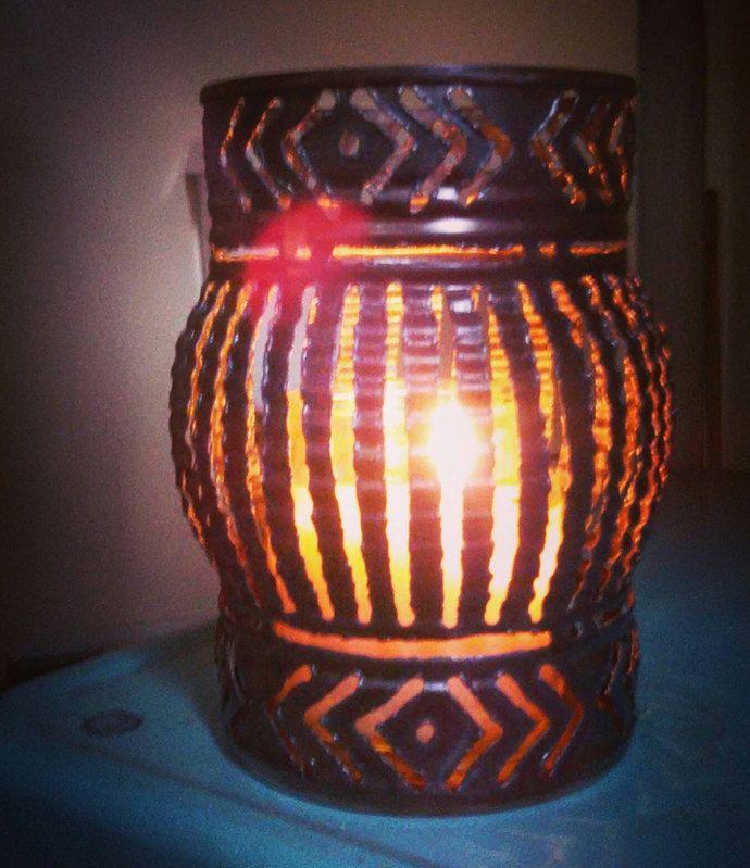 Candle Holder Metal Shadow Lamp Tin Anniversary Gift Wedding Welded Art Rustic Home Decor GEOMETRIC PATTERN
