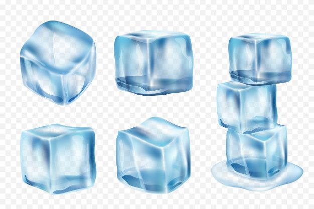 Ice Cubes Freeze Water With Light Reflection And Splashes Realistic Ice Template Light Reflection Colorful Frames Vector Clipart