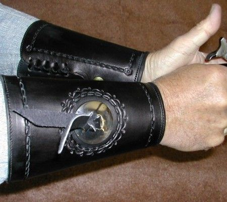Silver Concho Cuffs - Authentic custom handgun grips, holsters, spurs, clothes, 1800s and 1900s cowboy gear, and much more