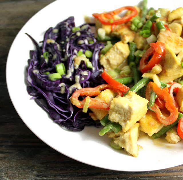 Oppskrift Rask Curry Tofu Grønn Currypaste Thaimat Thai Vegetar Vegan