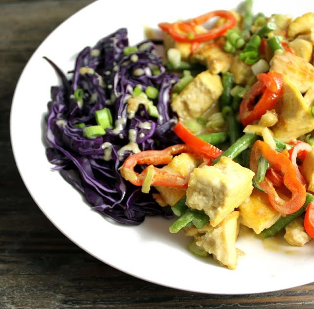 Oppskrift Rask Curry Tofu Grønn Currypaste Thaimat Thai Vegetar Vegan
