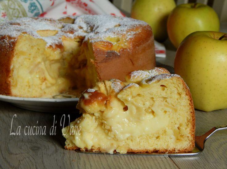 Torta di mele e crema ricetta golosa per un dolce soffice goloso,cremoso senza burro e olio, facile da fare.Ricetta torta di mele e crema senza olio e burro