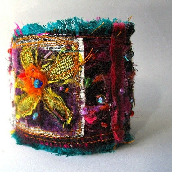 Susan - remember this for patches - the colors, the layers, all of it!!!  A fabulous inspiration!  fabric cuff... by maura