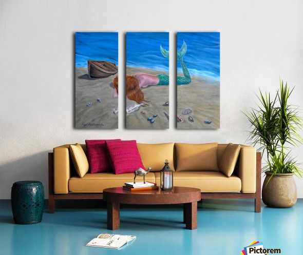 Triptych, 3 split,  stretched, canvas, multi panel, prints, for sale, mermaid,coastal,scene,aquatic,creature,seascape,boat,marine,nautical,ashore,mythical,mythological,legendary,fantasy,dreamscape,lying,sandy, beach,tail,fin,long hair, vivid,colorful,blue,water,moody,nude,feminine,shells,bottle,message in a bottle, imagination,contemporary,realism,figurative,fine,oil,painting,wall,art,images,home,office,decor,artwork,modern,items,ideas,pictorem