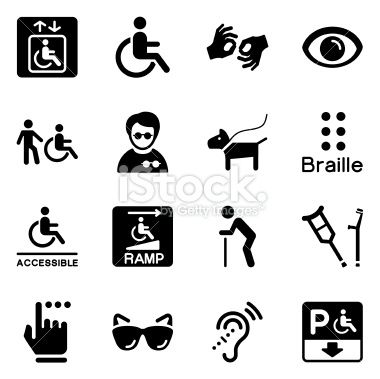 Vector File of Disability Icons related vector icons for your design or application. Raw style. Files included: vector EPS, JPG, PNG. See more in this series.